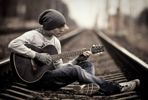 black and white jeans music alone trains guitars boys hats playing 1680x1050 wallpaper_www.wallpaperfo.com_59